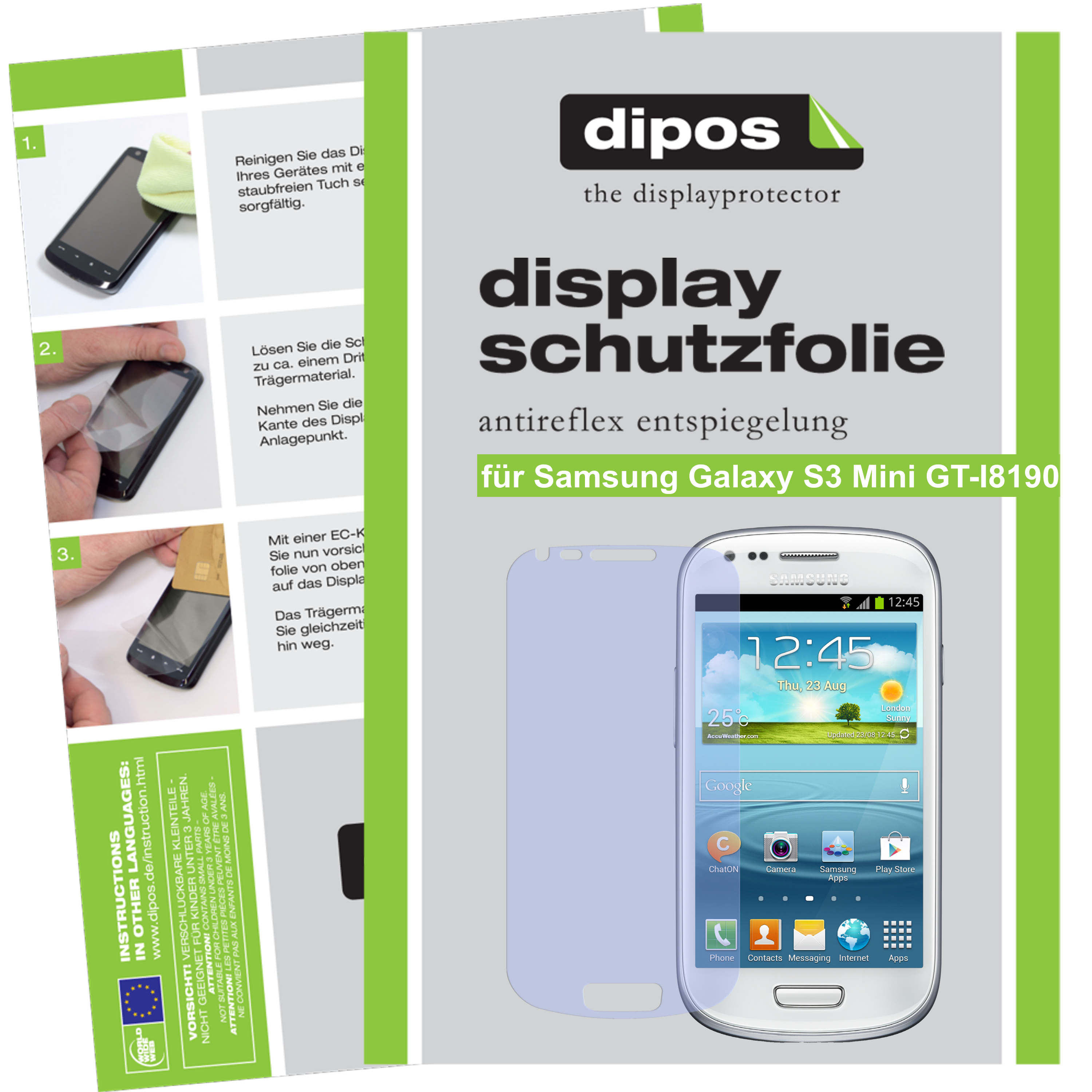 2x-Samsung-Galaxy-S3-mini-Schutzfolie-matt-Displayschutz-Folie-Antireflex